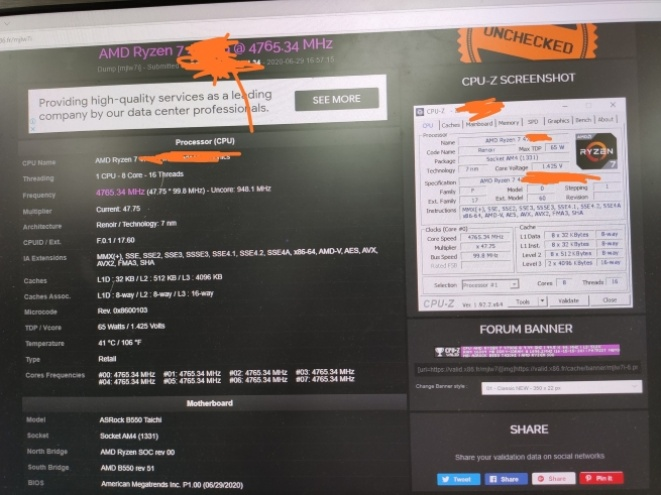 AMD Ryzen 7 4700G 'Renoir AM4' APU overklokovan do 4.765GHz