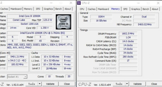 Intel i9-10900K procesor je već overklokovan do 5.4GHz
